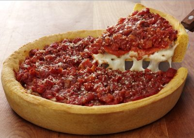 Ginos East Chicago Deep Dish Layered Pepperoni Pizza